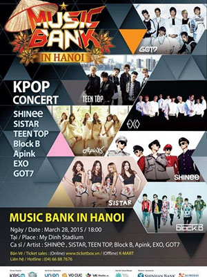 Music Bank In Hanoi Kbs Music Bank In Hanoi.Diễn Viên: Exo,Sistar,A Pink,Got7,Teen Top,Shinee,Block B